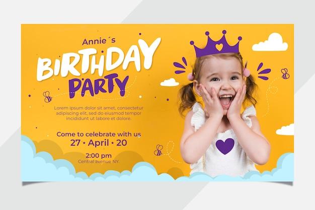 Cute children's birthday card template Free Vector