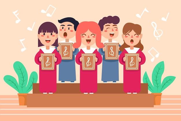 Симпатичные дети, поющие в хоре, иллюстрированный Бесплатные векторы