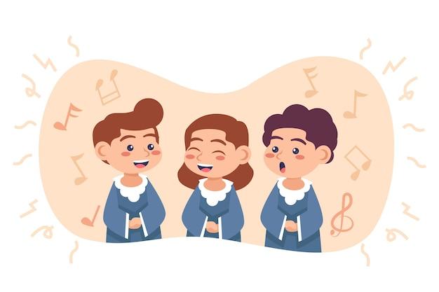 Милые дети поют в хоре Бесплатные векторы