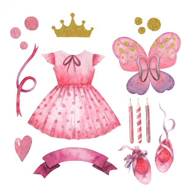 Cute children watercolor set for little princess girl Premium Vector