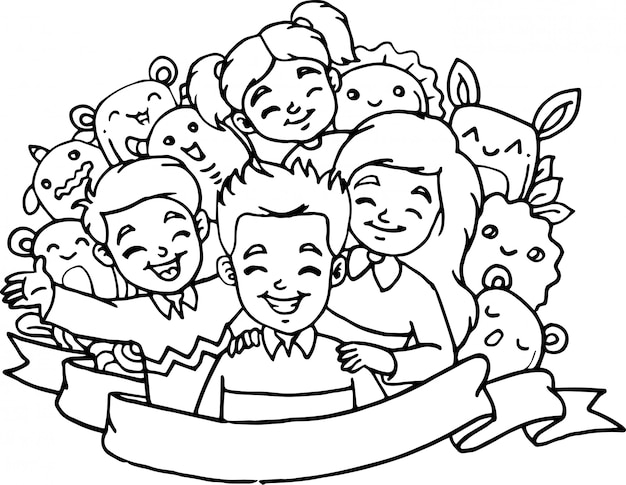 Cute children with monster collection in doodle style Premium Vector