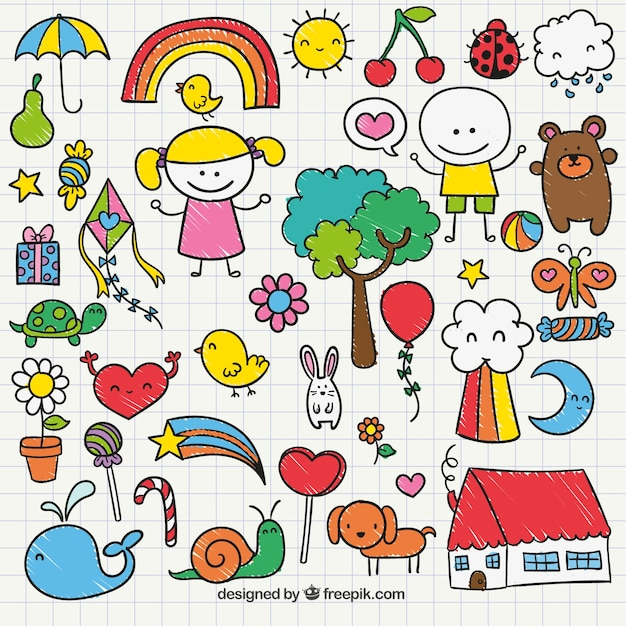 Cute childrens drawing  Free Vector