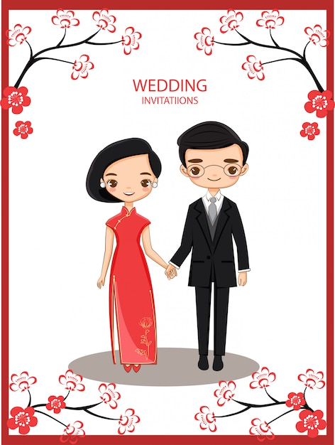 Cute chinese bride and groom for wedding invitations card Premium Vector