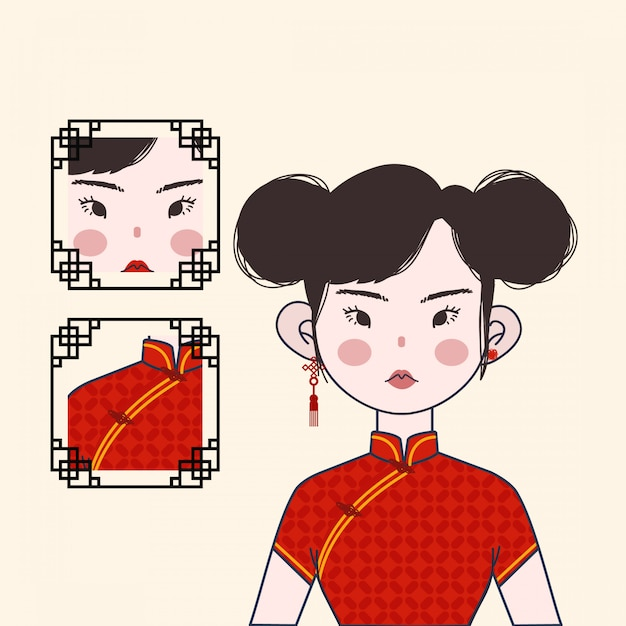 Cute chinese girl with red traditional costume Premium Vector