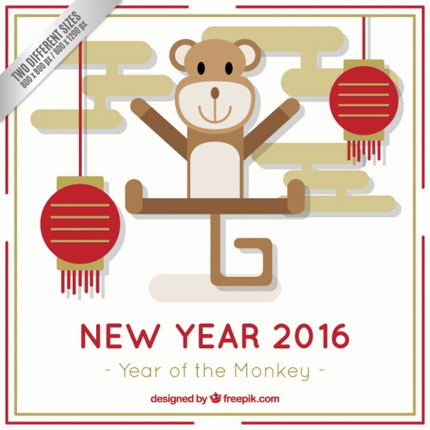 cute chinese new year background in flat design free vector