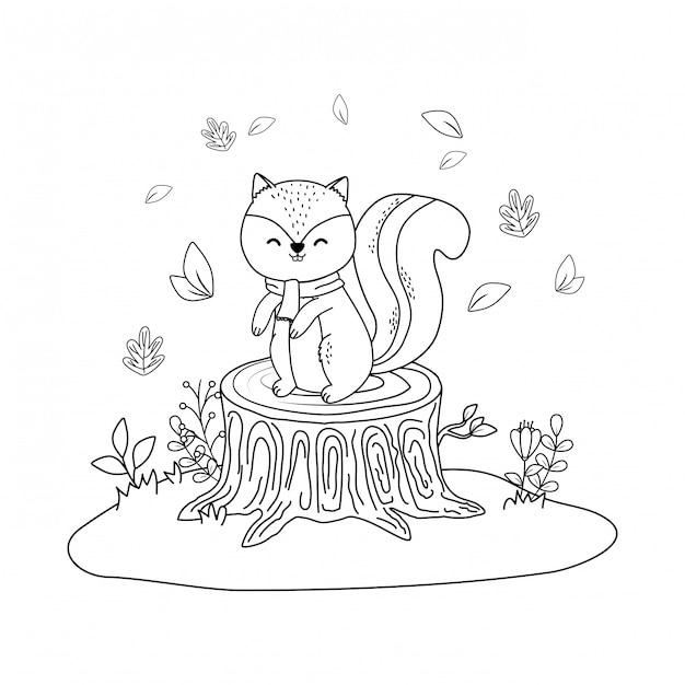 Cute chipmunk in the field woodland character Premium Vector