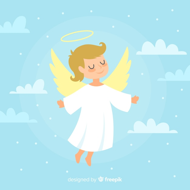 Cute christmas angel illustration Free Vector