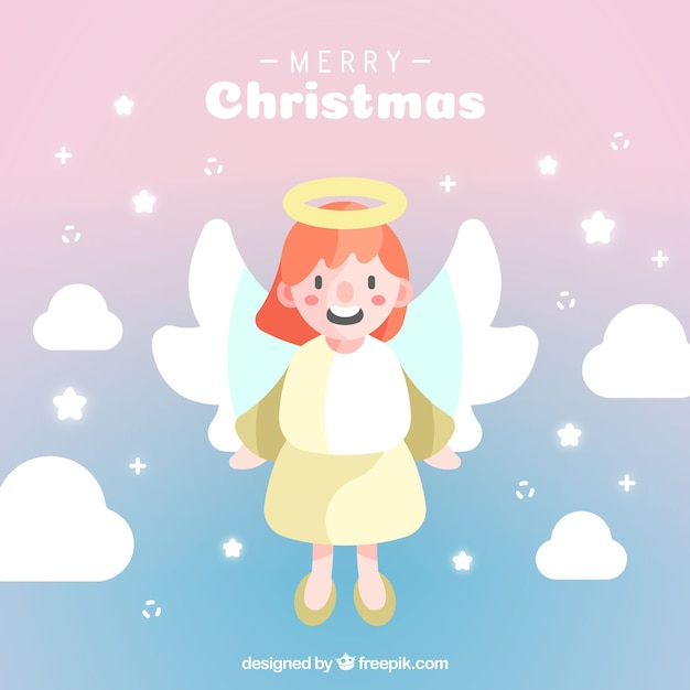 Cute christmas angel in a lilac sky