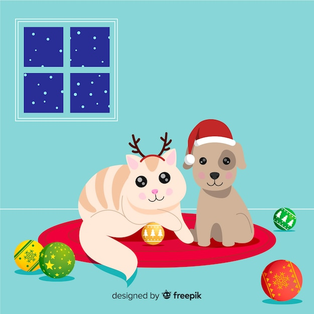Cute christmas animales background Free Vector