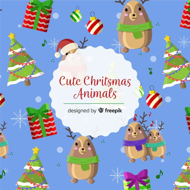 Cute Christmas Animales Background Vector Free Download