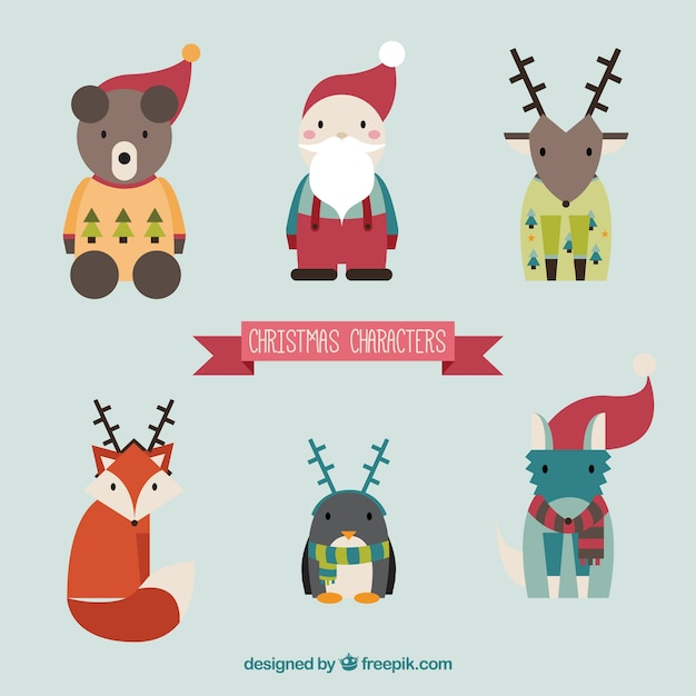 Cute christmas animals and santa claus
