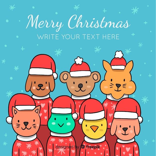 Cute christmas animals background Free Vector