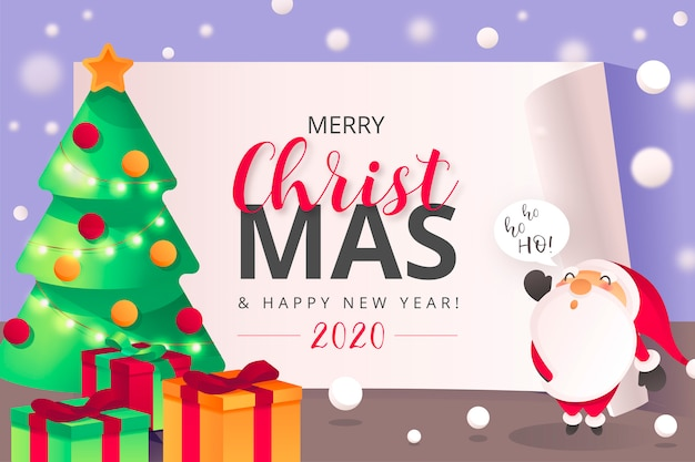 Cute christmas background with santa character Free Vector