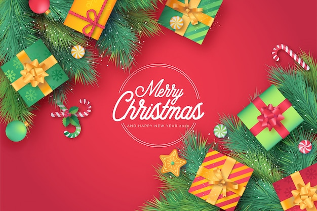 Cute christmas card in red background Free Vector