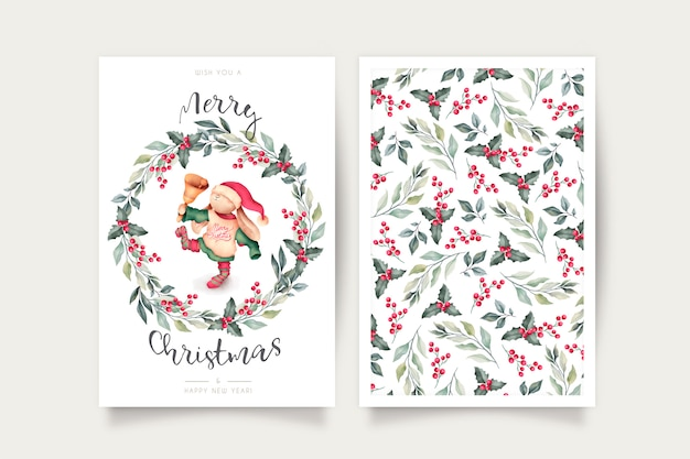 Cute christmas card template with lovely character Free Vector