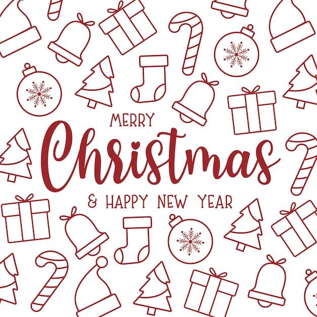 Симпатичная рождественская открытка с плоскими рождественскими иконами Бесплатные векторы