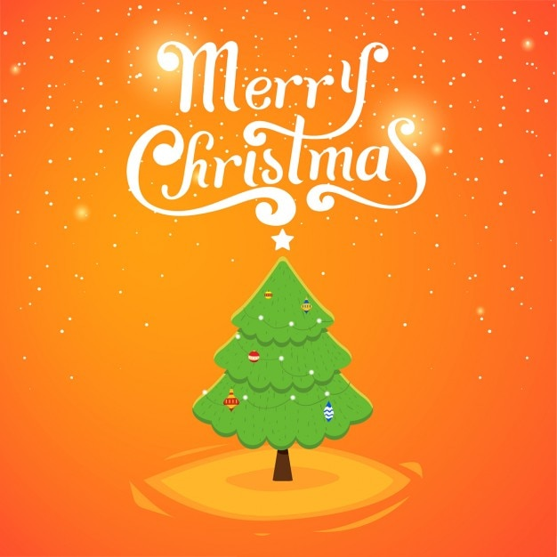 Cute christmas card with tree Free Vector
