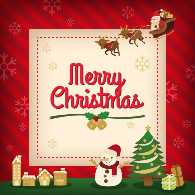 Cute christmas card Free Vector