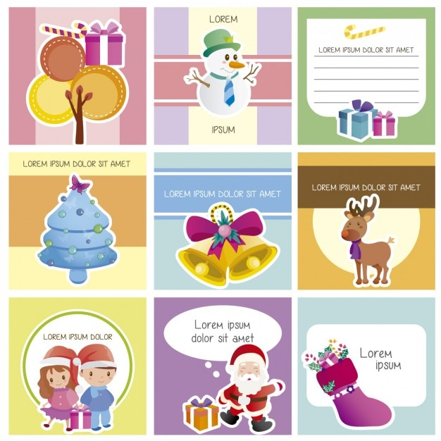 cute christmas cards collection free vector