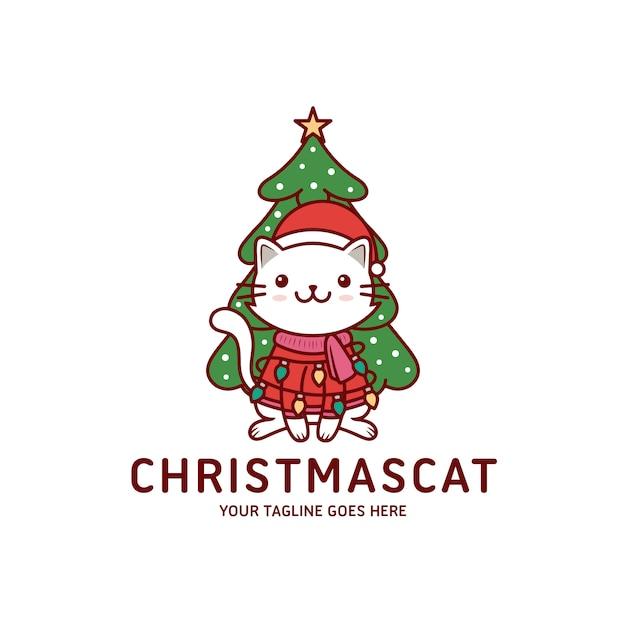 Cute christmas cat greeting card Premium Vector