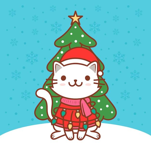 Cute christmas cat illustration Premium Vector