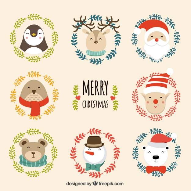 Cute Christmas Pictures.Cute Christmas Character Vector Free Download