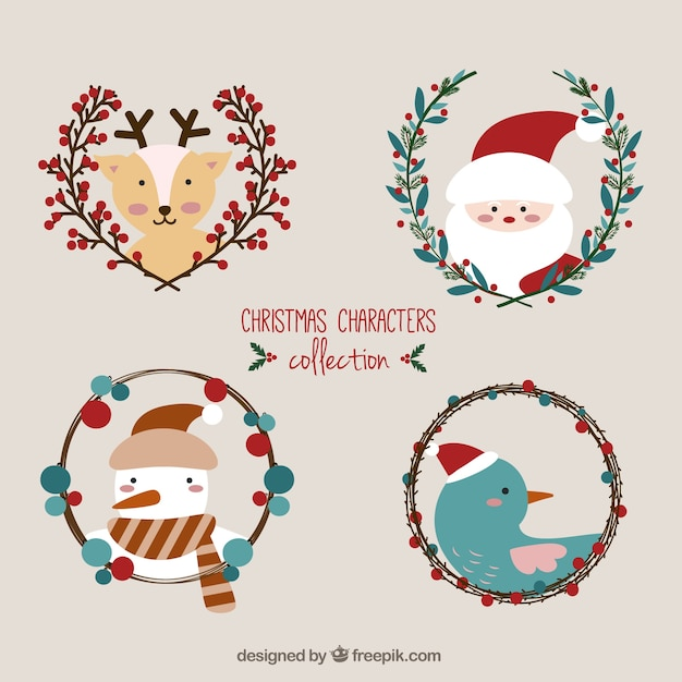 cute christmas characters collection free vector - Cute Christmas Pics