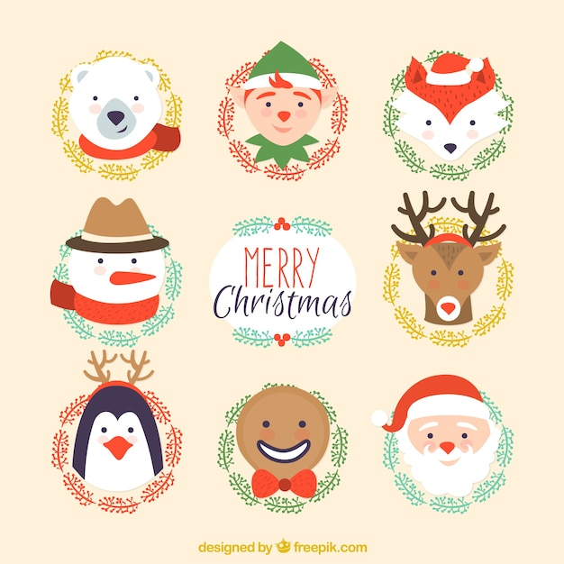 Cute christmas characters collection vector free download for Pretty christmas pics