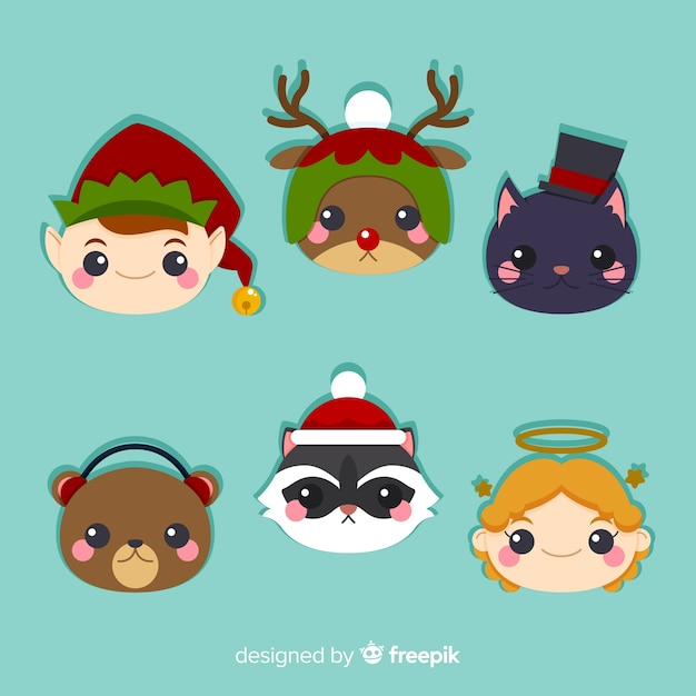 Cute christmas characters collection Free Vector