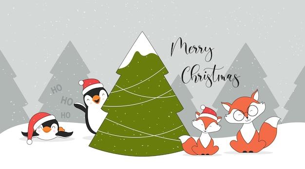 Симпатичные рождественские персонажи пингвины лисы и новогодняя елка Premium векторы