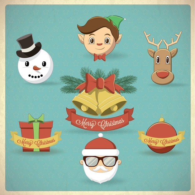 Cute christmas characters Free Vector