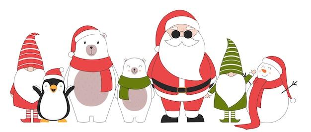 Simpatici personaggi natalizi. Vettore gratuito