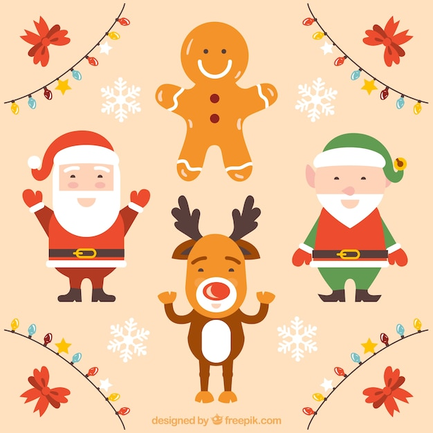 cute christmas characters free vector - Cute Christmas Pics