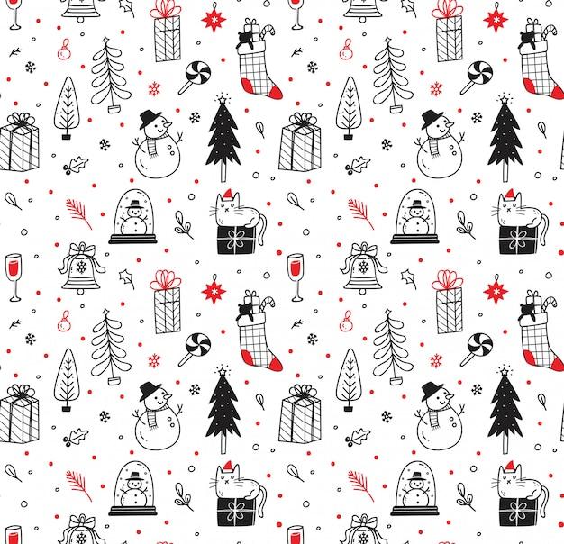 Cute christmas doodles seamless pattern Premium Vector