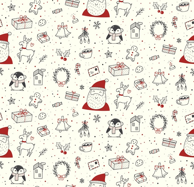 Cute christmas doodles seamless pattern Premium Vector