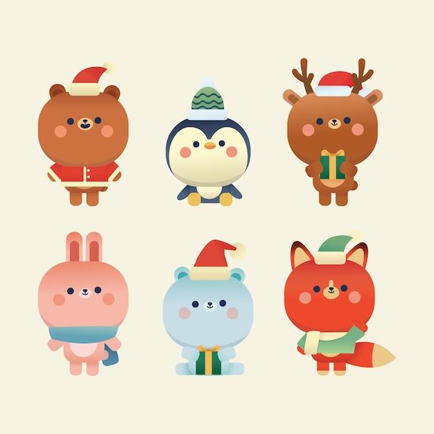 かわいいクリスマスの要素クマ、ポーラクマ、ウサギ、ペンギン、鹿、そしてフォックス Premiumベクター