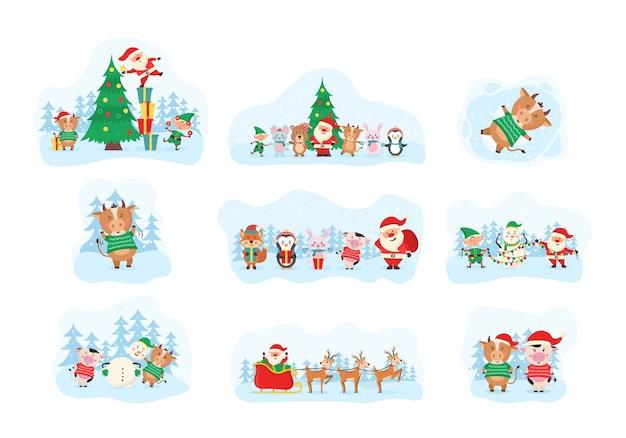 Симпатичные рождественские элементы, санта-клаус, снеговик Premium векторы