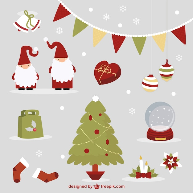 Cute christmas elements Premium Vector