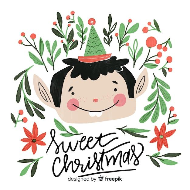 Cute christmas elf lettering Free Vector