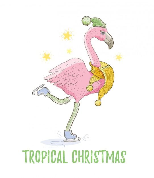 かわいいクリスマスのエキゾチックなフラミンゴの鳥。メリークリスマスと新年の漫画の水彩画。手描きのスケッチのベクトル図。 Premiumベクター