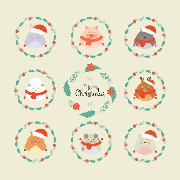 Cute christmas forest animals. wildlife cartoon character set Premium Vector