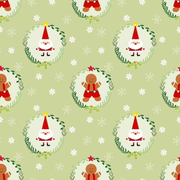 Cute christmas gingerbread man and santa seamless pattern. Premium Vector