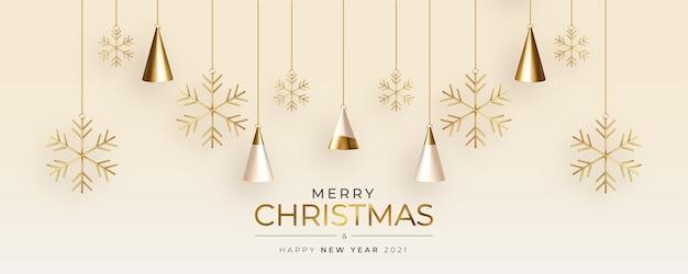 현실적인 3d 크리스마스 트리 구성으로 귀여운 크리스마스 인사말 카드 무료 벡터