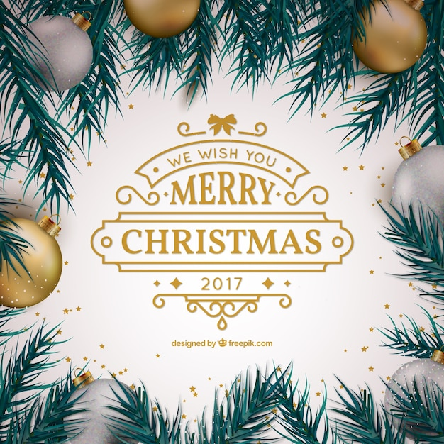 Cute christmas greeting with decorative balls\ and golden details