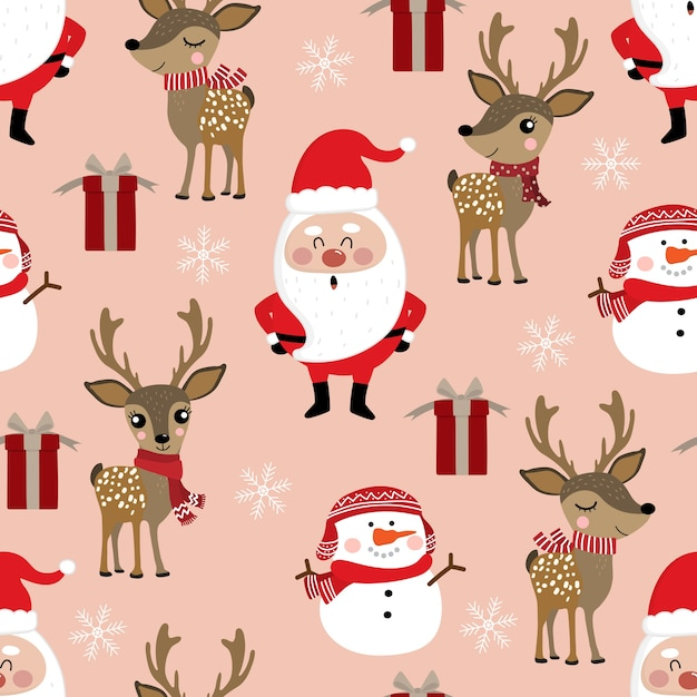 Cute christmas holidays cartoon seamless pattern Premium Vector