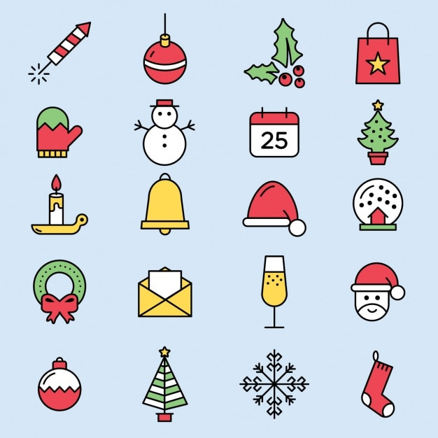 Cute Christmas Icons Vector Free Download