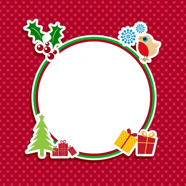 cute christmas label on a red backgroun vector free download