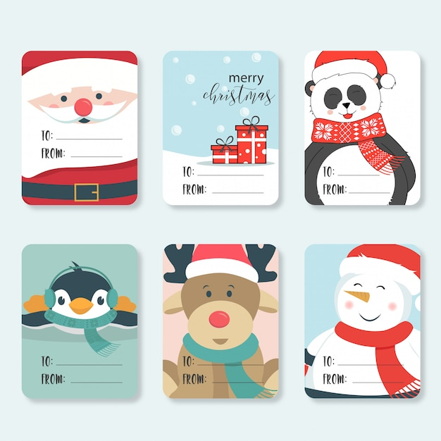Cute christmas labels set Premium Vector