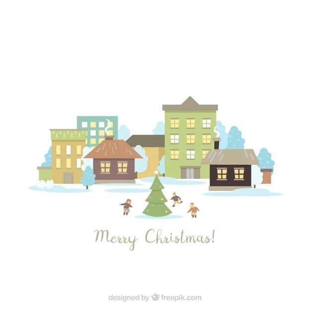 Cute christmas landscape background with\ children around a tree