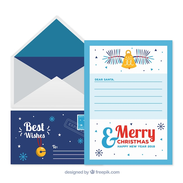 Cute christmas letter template and envelope Vector | Free Download